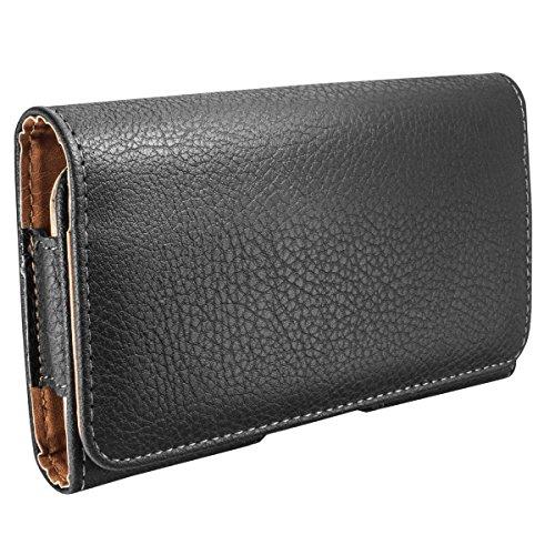 kj-vertrieb Quer-Tasche (Kunstleder) für Samsung Galaxy Note 3, Note 4, LG V30, iPhone 7 Plus, 6 Plus, 8 Plus, Google Pixel 2 XL - schwarz - 160 x 85 x 15 mm