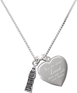 London's Big Ben Clock Tower You are more Loved Heart Locket Necklace