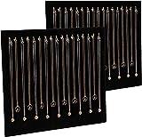 Organizador de collares de terciopelo negro con 17 ganchos, bandeja de exhibición de joyas (2 unidades)