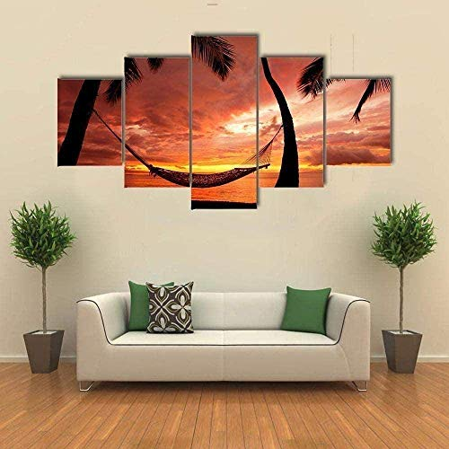 Bibilongbk 5 imágenes en lienzo 5 juegos de pinturas impresas Decoraciones artísticas en HD y carteles que pintan paisajes de palmeras al atardecer (100 x 50 cm sin marco)