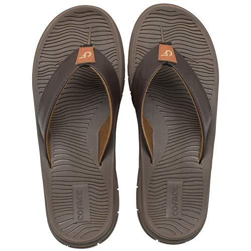 Men's Outdoor Sports Non Slip Sandals Comfortable Supportive Memory Foam Flip Flops Brown Size 10