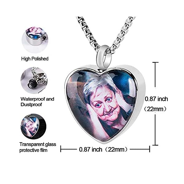 Fanery sue Personalized Photo Cremation Urn Necklace for Ashes Custom Engraving Pendant Memorial Keepsake Jewelry with Filling Tool(Heart-Silver)