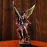 Estatua del Arcángel San Miguel | Arcángel de la protección y la justicia - Estatua de batalla de ángel y demonio | Resina 8,66 X 4,72 pulgadas - La justicia dura para siempre | ángel coleccionable