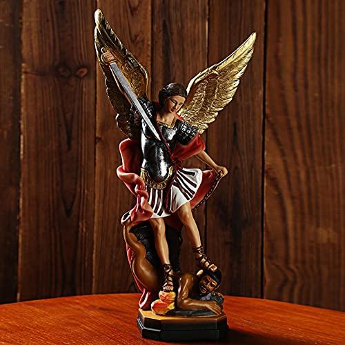 Estatua del Arcángel San Miguel   Arcángel de la protección y la justicia - Estatua de batalla de ángel y demonio   Resina 8,66 X 4,72 pulgadas - La justicia dura para siempre   ángel coleccionable