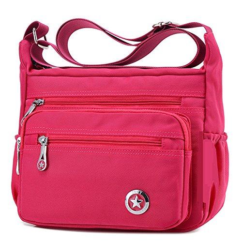 Lässige Umhängetasche für Damen, wasserdicht, aus Nylon, Messenger-Tasche, Pink - rose - Größe: Small