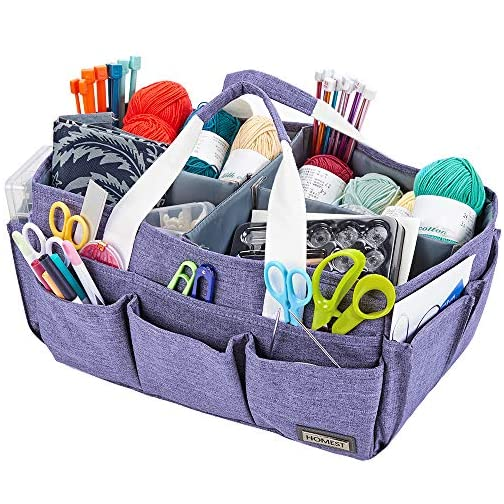 HOMEST Craft Organizer Tote Bag with Multiple Pockets, Storage Art Caddy for Scrapbooking, Crafts Supply Carrier for… |