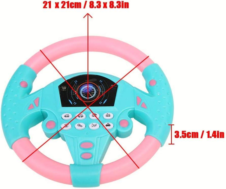 Garosa Controlador de conducci/ón simulado 21 x 3.5 x 21cm Copiloto Volante simulado Juguete de m/úsica Educativo para ni/ños Ni/ños 4 5 6 a/ños Amarillo