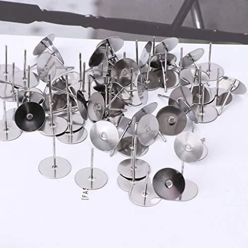 LessLIFE Acupuntura de oreja plana, 100 piezas de acero inoxidable de pegamento plano en los postes de los pendientes para la fabricación de joyas de 5 mm
