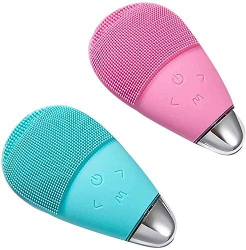 Cepillo de limpieza facial, JIEMIC USB limpiador eléctrico de la piel del silicón, impermeable, utilizado para el cuidado de la piel limpio profundo (rosa)
