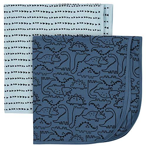 Gerber Baby Boys' 2-Pack Thermal Receiving Blanket, Dinosaur Blue, One size