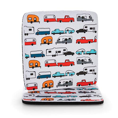 Camco Life Is Better at The Campsite Neoprene Drink Coaster - Fun Multicolor Retro RV, Camper, and Trailer Designs - Great for Rving, Camping and More - 2 Pack (53231)