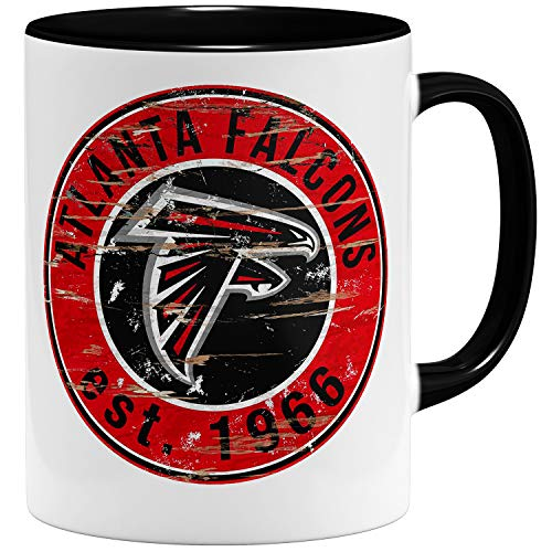 OM3® Atlanta Badge Tasse | Keramik Becher | 11oz 325ml | American Football Mug | Schwarz