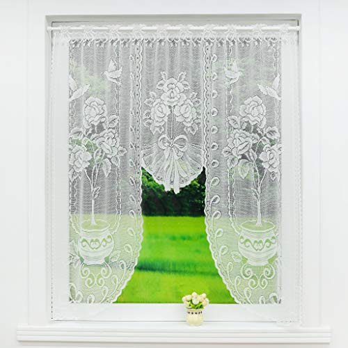 Scheibengardine C-Bogen Store Spitze-Jacquard Deko Gardine Stangendurchzug Fenster Vorhang Weiß Fertiggardine HxB 105x120cm Vogel und Topfpflanze Muster