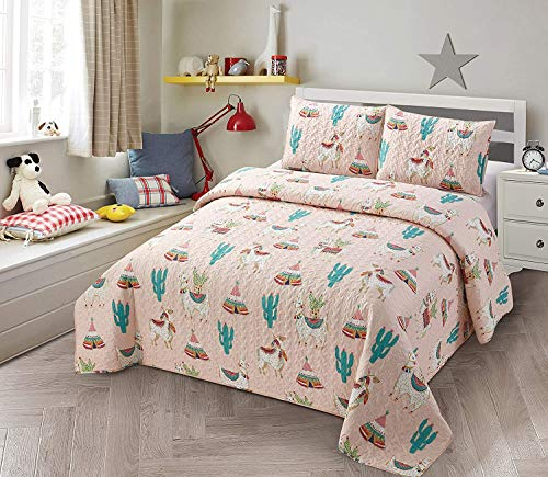 Luxury Home Collection Kids/Teens/Girls Coverlet Bedspread Quilt Bedding Set with Pillow Shams Multicolor Fun Southwest Indian Design Cactus Llama Alpaca Tee Pee (Full/Queen)