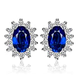 Jewelrypalace 1.2ct Kate Middleton's ケイトケイトミドルトン Diana プリンセス 誕生石 9月 ブルー 人工 サファイア イヤリング スターリング シルバー 925 ピアス スタッド レディース