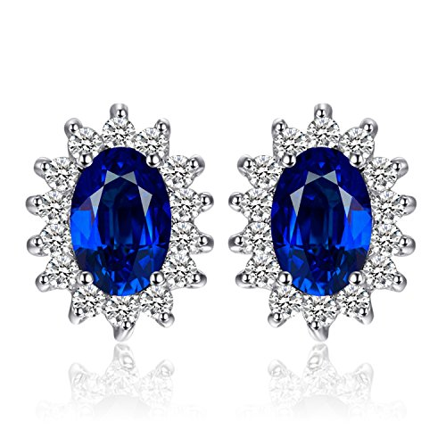 JewelryPalace Prinzessin Diana William Kate Middletons 1,5ct Erstellt Blauen Saphir Ohrstecker 925 Sterling Silber