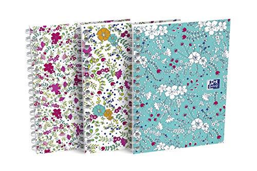 Oxford 400094826Collegeblock A610unidades a cuadros de flores con Blanco Doble Espiral 100páginas a cuadros 3diseños surtidos Cuaderno Diario Bloc de anillo espiral (regalo Idea Floral Flores