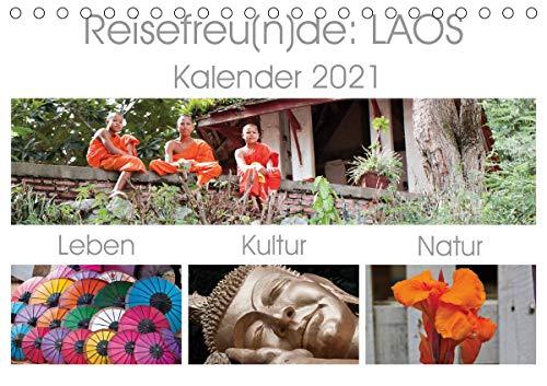 Reisefreu(n) de: Laos (Tischkalender 2021 DIN A5 quer)