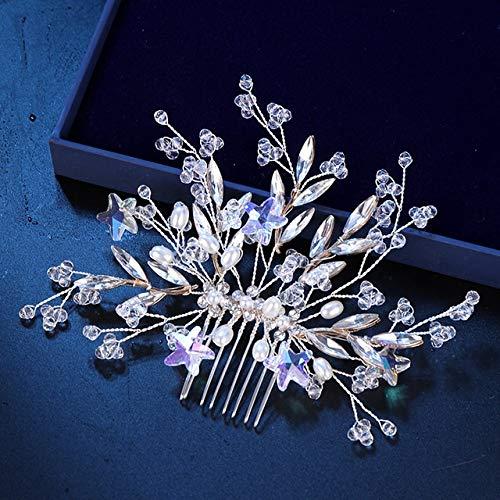 ASDAHSFGMN Brauthaar-Zusätze Trendy Stern-Kristall Strass Hochzeit Haarkämme Haarschmuck for Brautoberteil Haarschmuck Frauen Haarschmuck (Metal Color : Gold)