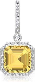 8.5 Ct Citrine Solitaire Hoop Earring, 0.80 Ct Diamond IGI Certified Earring, Asscher Cut Gemstone Earring, IJ-SI Color Clarity Diamond Huggie Earring, Screw Back