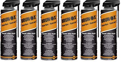 6x BRUNOX TURBO SPRAY 500ml Schmiermittel,Korrosionsschutz,Kontaktspray,Kriechöl,Wartungsspray