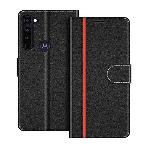 COODIO Handyhülle für Motorola Moto G Pro Handy Hülle, Motorola Moto G Pro Hülle Leder Handytasche für Motorola Moto G Pro Klapphülle Tasche, Schwarz/Rot