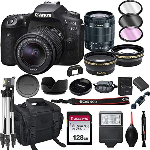 Canon EOS 90D DSLR Camera with 18-55mm STM Lens+ 128GB Card, Tripod, Case, and More (22pc Bundle)