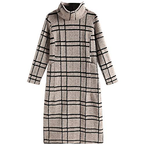 BINGQZ Dress vrouwen herfst nieuwe vrouwelijke dames temperament losse dunne winter hoge kraag geruite rok