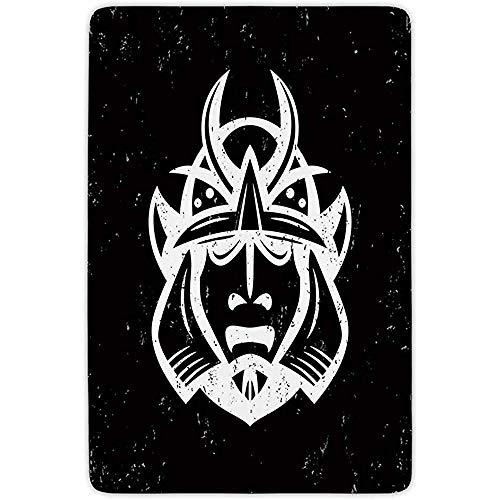 FANCYDAY Badkamer Tapijt Mat, Japans, Traditionele Oude Martial Helm Oost-Middeleeuwse Spirituele Mythologie Patroon, Zwart Wit, Flanel Microvezel