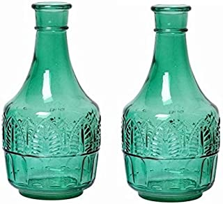 Hosley Set of 2 Green Glass Bottle 8.6 Inch High Ideal Flower Vase Nautical retro Vintage Bottle Gift for Wedding Special Occasion Home Office Dried Floral Arrangements O7