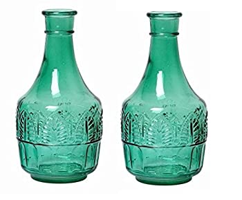 Hosley Set of 2 Green Glass Bottle 8.6 Inch High Ideal Flower Vase Nautical retro Vintage Farmhouse Bottle Gift for Wedding Special Occasion Home Office Dried Floral Arrangements O7