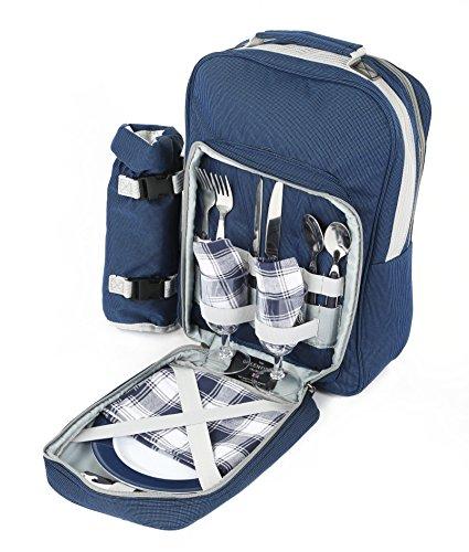 The Greenfield Collection BP2DBH Deluxe zwei Personen luxus Picknick Rucksack, nachtblau
