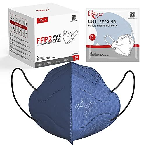 KKmier FFP2 Maske Einweg-Atemschutzmasken CE Zertifikat 5-lagige Mundschutzmasken Einzel Verpakt Blau 40 Stück