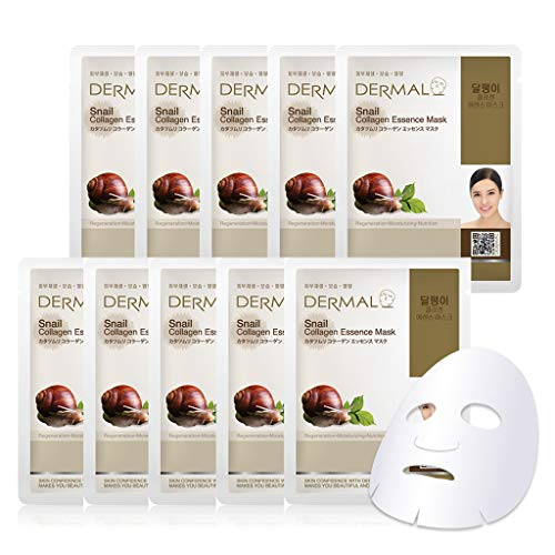 DERMAL Snail Collagen Essence Facial Mask Sheet 23g Pack of 10 - Skin Regenerating & Trouble Care for Acne Prone Skin, Daily Skin Treatment Solution Sheet Mask