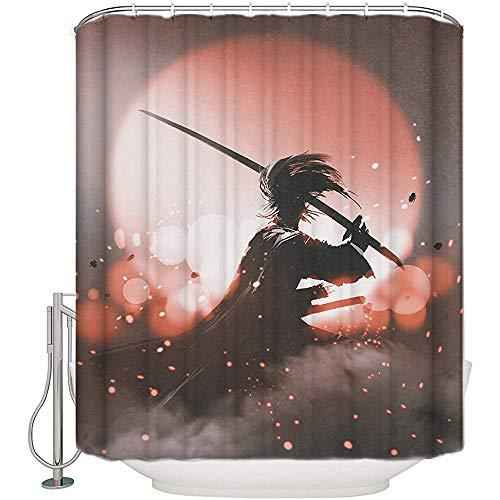 Elaine-Shop Stoff Duschvorhänge Wasserdicht Duschvorhänge für Badezimmer, Druck Bad Vorhänge Set mit 12 Haken - Anime 55 'x 72'