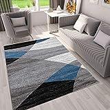 VIMODA Teppich Geometrisches Muster Meliert in Grau Weiß Schwarz und Blau, Maße:160x220 cm