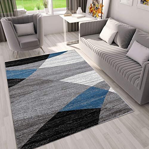 VIMODA Alfombra Moderna de diseño con Dibujo geométrico, Jaspeada, en Gris, Blanco, Negro y Azul - Material Certificado según ÖKO Tex, Maße:60 x 110 cm