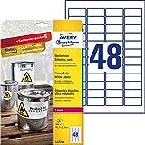 Avery L4778-8 Etichette in poliestere bianco, adesivo permanente, 45,7x21,2mm, 48 etichette per foglio, confezione da 8 fogli