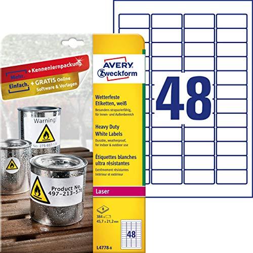 AVERY Zweckform L4778-8 Wetterfeste Folienetiketten (45,7x21,2 mm auf DIN A4, extrem stark selbstklebend, wasserfest, bedruckbare Outdoor Klebefolie) 384 Aufkleber auf 8 Blatt weiß