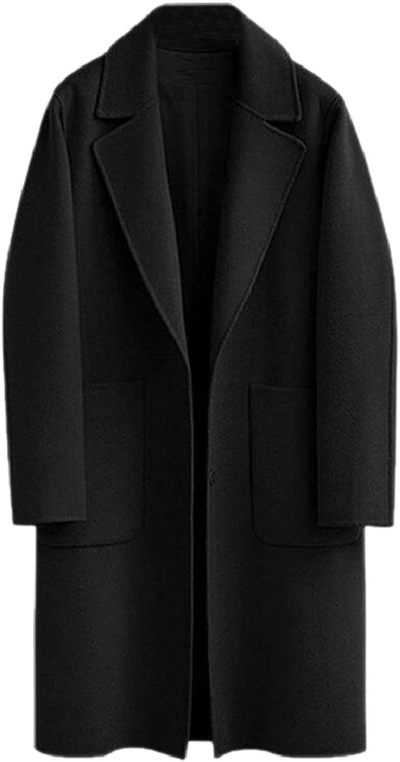 PujinggeCA Women Plus Size Solid Notched Lapel Wool Trenchcoat Pea Coat