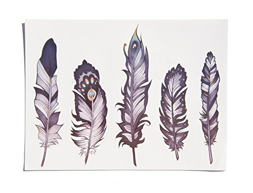 TattooYou 5 Feathers Temporary Tattoo - Finest Quality Temporary Feather Tattoo - Hand Drawn Design by Kate Prescesky - 11 by 8 Inches