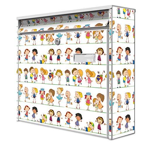 Burg Wächter Design Briefkasten | Postkasten 36 x 32 x 10cm groß | Stahl weiß verzinkt mit Namensschild | großer A4 Einwurf, 2 Schlüssel | Motiv Kinder