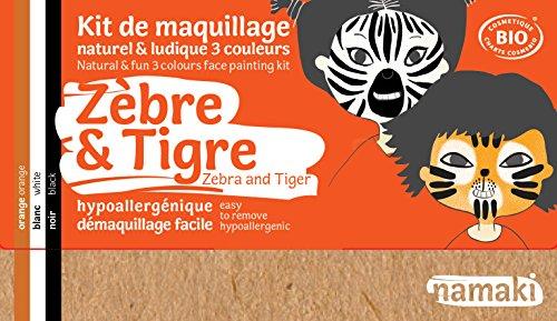Namaki- Maquillage enfants Bio & Vegan - Kit 3 Couleurs Zèbre & Tigre, Orange, Blanc, Noir