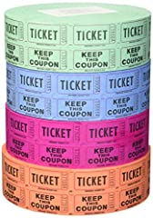 You will receive 4 different random colors from among the eight colors shown. Made in the USA--The way it should be by Indiana Ticket--If it doesn't say INDIANA TICKET, its a fake, please report it to immediately! 4 Full rolls of 2, 000 Double Stub R...