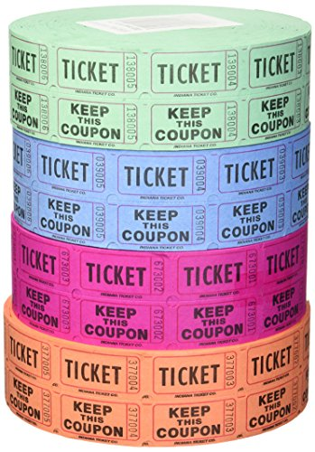 Indiana Ticket Company 56759 Raffle Tickets, (4 Rolls of 2000 Double Tickets) 8, 000 Total 50/50 Raffle Tickets,  (Assorted Colors)