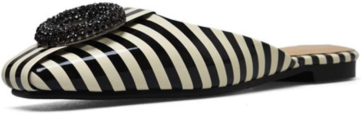 Bokun Women Slippers Summer shoes Crystal Thick shoes Striped Square Toe Mules shoes- Ideal for Indoor Outdoor Use