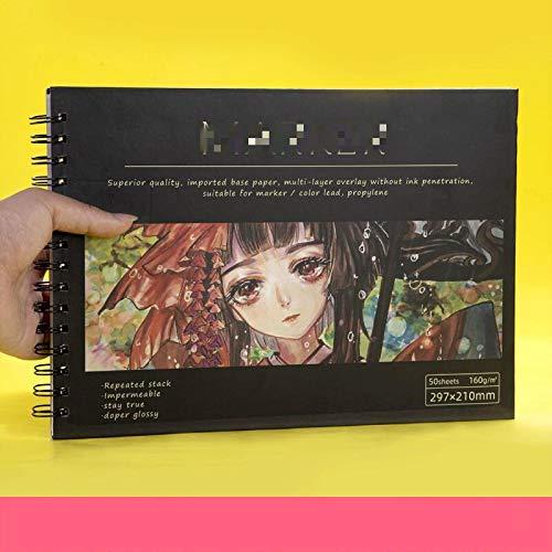 Dickes Skizzenbuch, 160 g Binder Notebook Nachfüllbar Geeignet für Bleistifte, Füllfederhalter, Markierungsstifte, Zeichenbuch-Kunstbedarf A45