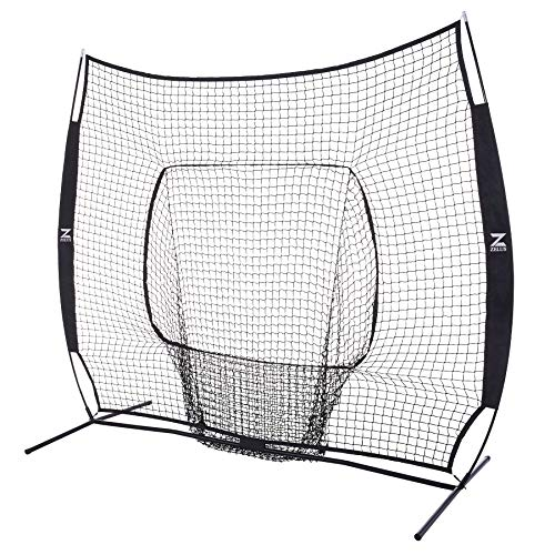 ZELUS 7 x 7 Baseball and Softball Practice Net, Portable Hitting Batting Training Net with Carry Bag and Bow Frame (Black)