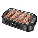 Techwood Smokeless Grill 1500W indoor Grill with Tempered Glass Lid, Compact & Portable Non-stick BBQ Grill, Turbo Smoke Extractor Technology, Drip Tray& Removable Plate