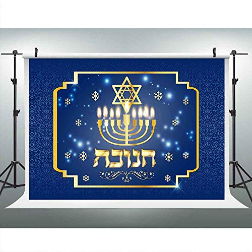 Happy Hanukkah Party Banner Chanukah Decorations Backdrops for Photography, Israel Hebrew Menorah Blue Shiny Lamps Chanukah Festive Decor Background, Photo Booth Picture Props DSLU545